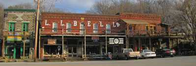 The red L.L. Bell boardwalk building in downtown Makanda the most hippie town in Illinois